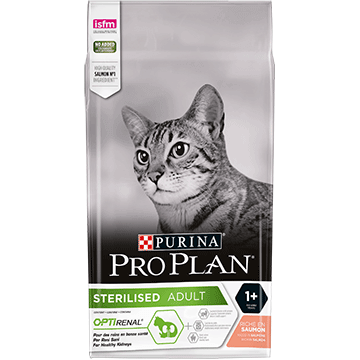 ​PURINA® PRO PLAN® STERILISED с OPTIRENAL®, богата на сьомга