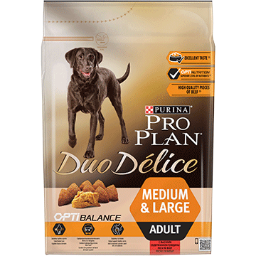 PURINA® PRO PLAN® Duo Delice Adult Medium/Large с OPTIBALANCE™, богата на говеждо