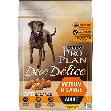 ​PURINA® PRO PLAN® Duo Delice Adult Medium/Large с OPTIBALANCE™, богата на пиле