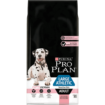 ​PURINA® PRO PLAN® Large Athletic Adult Sensitive Skin с OPTIDERMA®, богата на сьомга