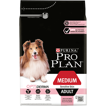 PURINA® PRO PLAN® Medium Adult Sensitive Skin с OPTIDERMA®, богата на сьомга